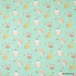 Tissu coton Hedwige motifs chouettes et hiboux fond Céladon - Oeko tex