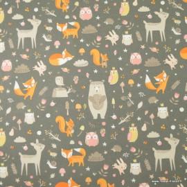 Tissu coton Faline motifs animaux de la forêt fond gris - Oeko tex
