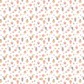 Tissu coton Fungo motifs champignons rose - Oeko tex