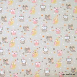 Tissu coton Hedwige motifs chouettes et hiboux fond naturel - Oeko tex