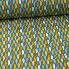 Tissu coton Nakoma motifs plumes sable, moutarde et canard - Oeko tex