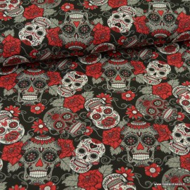 Tissu jersey motifs têtes de mort Calaveras rouge et noir - Oeko tex