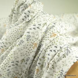 Tissu Double gaze FOLERBE coton motif herbes folles blanc et forêt - oeko tex