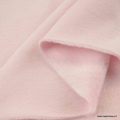 Tissu Sweat envers Minky rose clair