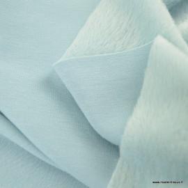 Tissu Sweat envers Minky Bleu clair