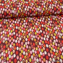 Tissu Popeline motifs grains de café fond bordeaux - oeko tex