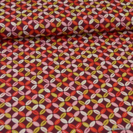 Tissu Popeline motifs croix  fond bordeaux - oeko tex
