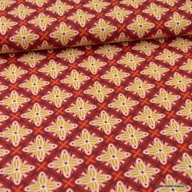 Tissu Popeline motifs rosaces fond Bordeaux - oeko tex