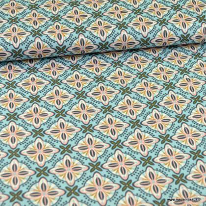 Tissu Popeline motifs rosaces fond ciel - oeko tex