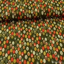 Tissu Popeline motifs grains de café fond Kaki - oeko tex