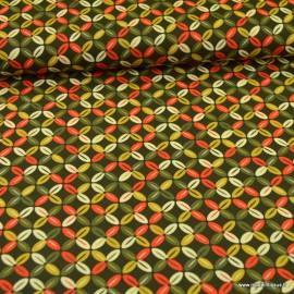 Tissu Popeline motifs croix  fond kaki - oeko tex