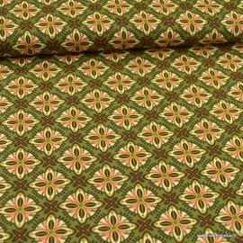 Tissu Popeline motifs rosaces fond kaki - oeko tex