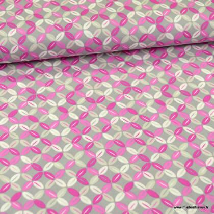 Tissu Popeline motifs croix  fond gris et rose - oeko tex