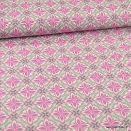 Tissu Popeline motifs rosaces fond gris et rose - oeko tex