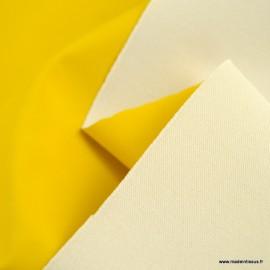 Tissu enduit ciré de pluie uni coloris jaune