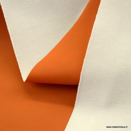 Tissu enduit ciré de pluie uni coloris Terracotta