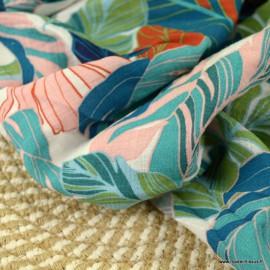 Tissu Viscose Rayon motif feuillage Océan