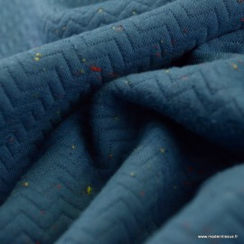 Tissu Jersey coton matelassé motifs chevrons Bleu Denim - oeko tex