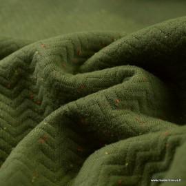 Tissu Jersey coton matelassé motifs chevrons Kaki - oeko tex