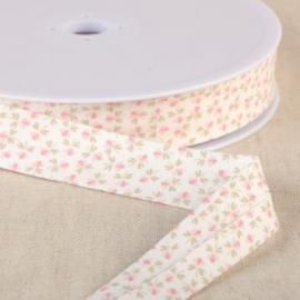Biais replié en coton biologique 20 mm motifs fleurs rose