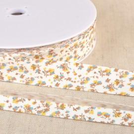 Biais replié en coton biologique 20 mm motifs fleurs Moutarde