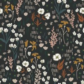 Tissu coton motifs fleurs fond noir - Dear Isla - Meadow  - Cotton and Steel