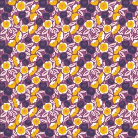 Tissu coton motifs fleurs fond violet - Glory - Joani - Nighfall Fabric - Cotton and Steel