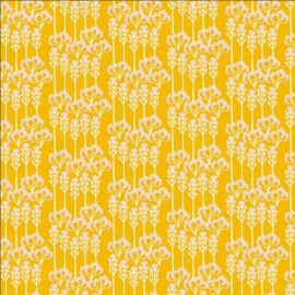 Tissu coton motifs fleurs fond jaune - Glory - Constance - Sunshine Fabric - Cotton and Steel