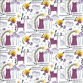 Tissu coton motifs chats et fleurs violet - Glory - Elsies Cat - Dusk Fabric - Cotton and Steel
