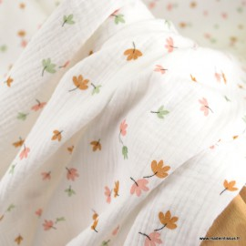 Double gaze de coton Bio Gots & oeko tex Edmonde motifs fleurs  fond blanc cassé