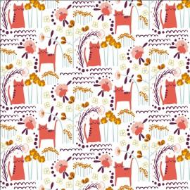 Tissu coton motifs chats et fleurs Corail- Glory - Elsies Cat - Sunrise Fabric - Cotton and Steel