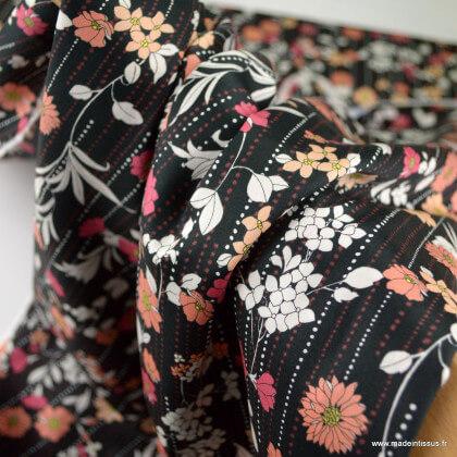 Tissu popeline satinée Kokka Retro Flower - Noir