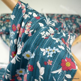 Tissu popeline satinée Kokka Retro Flower - Bleu canard