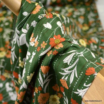 Tissu popeline satinée Kokka Retro Flower - vert kaki