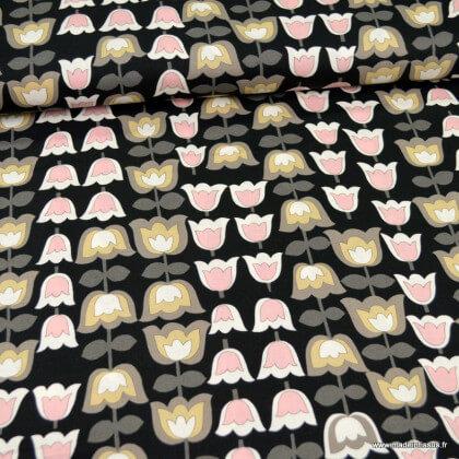 "Tissu Popeline coton motifs fleurs fond noir,  Collection ""A Ghastlies Kelp"" par Alexander Henry"