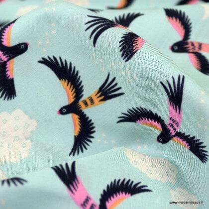Popeline Bio coton CLOUD9 - Parrot Play - Collection Tropical Garden