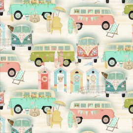 Popeline motifs vans collection Beach Travel by 3 Wishes