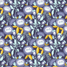 Tissu coton motifs fleurs fond indigo - Glory - Isla - Deep Purple Fabric - Cotton and Steel