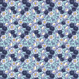 Tissu coton motifs fleurs fond bleu jean - Glory - Joani - Shadow Fabric - Cotton and Steel