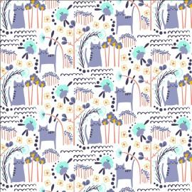 Tissu coton motifs chats et fleurs bleu - Glory - Glory - Elsies Cat - Summer Daze Fabric - Cotton and Steel