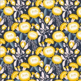Tissu coton motifs fleurs fond bleu marine - Glory - Isla - Navy Fabric - Cotton and Steel