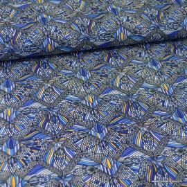 Tissu jersey Kaleïdocope bleu - oeko tex