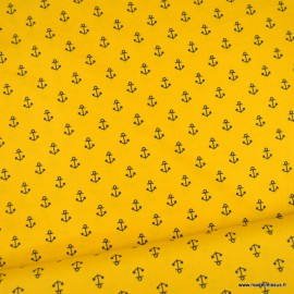 Tissu Popeline motifs ancres fond moutarde - oeko tex