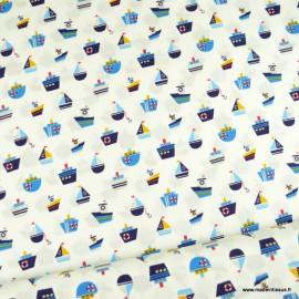 Tissu Popeline motifs bateaux fond blanc - oeko tex