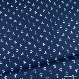 Tissu Popeline motifs ancres fond bleu marine - oeko tex