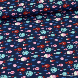 Tissu Popeline motifs poissons fond bleu marine - oeko tex