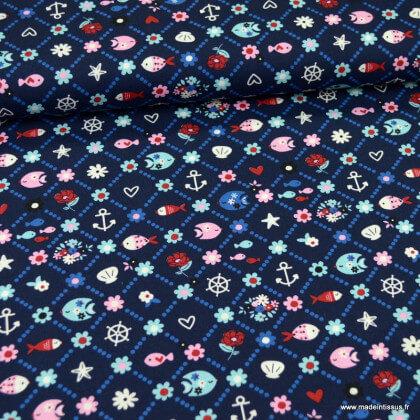 Tissu Popeline motifs poissons et ancres fond bleu marine - oeko tex