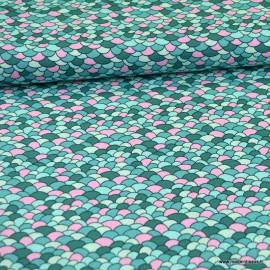 Tissu Popeline motif écaille pétrole et rose - oeko tex