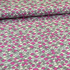 Tissu Popeline motif écaille rose et gris - oeko tex