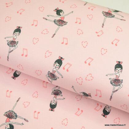 Tissu jersey motifs ballerines fond saumon - oeko tex